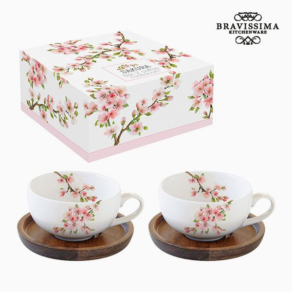Set of 2 Cups with Plate Porcelain by Bravissima Kitchen