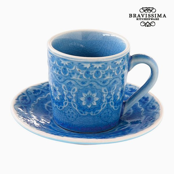 Cup with Plate Porcelain Blue by Bravissima Kitchen
