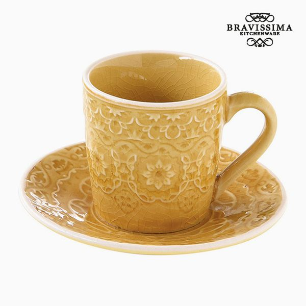 Cup with Plate Porcelain Yellow by Bravissima Kitchen