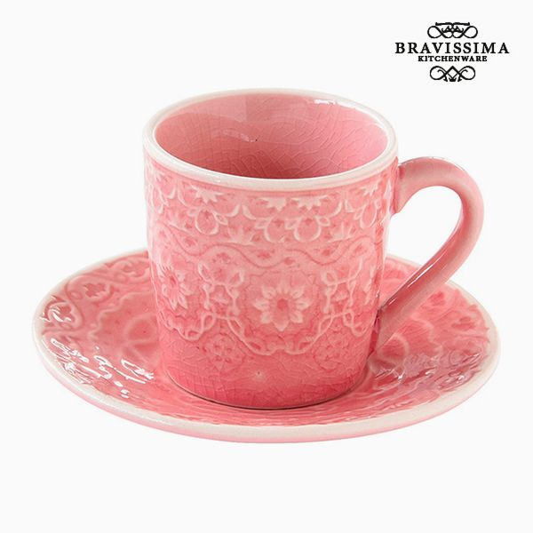 Cup with Plate Porcelain Coral by Bravissima Kitchen