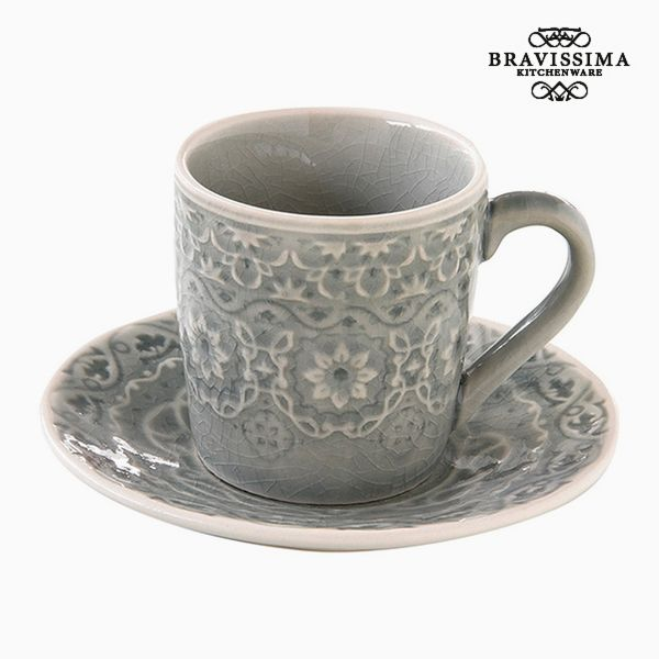Cup with Plate Porcelain Grey by Bravissima Kitchen