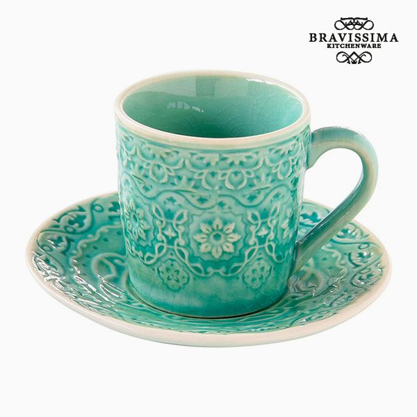 Cup with Plate Porcelain Green by Bravissima Kitchen