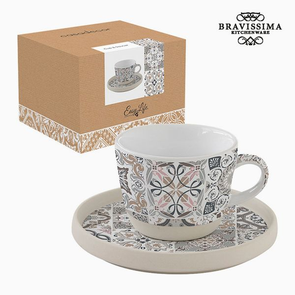 Cup with Plate Porcelain Mosaic by Bravissima Kitchen