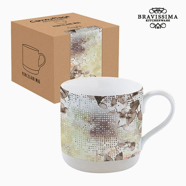Cup with Box Porcelain Camouflage Brown by Bravissima Kitchen
