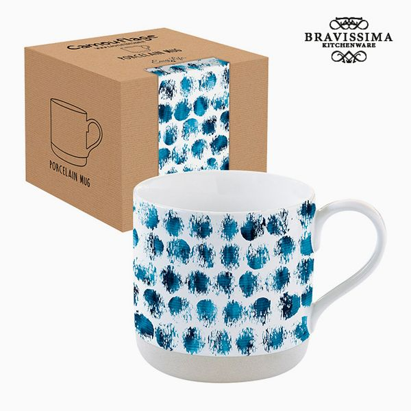 Cup with Box Porcelain Camouflage Blue by Bravissima Kitchen