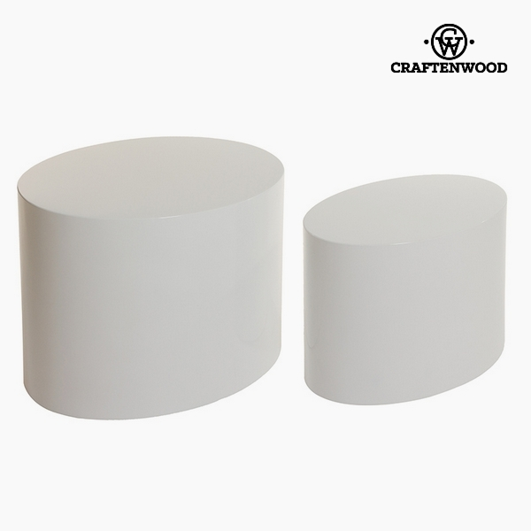 Set of 2 tables Mdf White (48 x 63 x 40 cm) by Craftenwood
