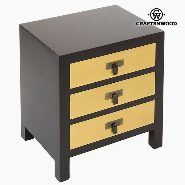 Nightstand Mdf Black Yellow (45 x 35 x 51 cm) - Modern Collection by Craftenwood