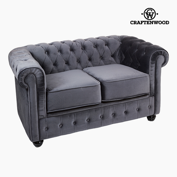 2 Seater Chesterfield Sofa Velvet Grey - Relax Retro Collection by Craftenwood