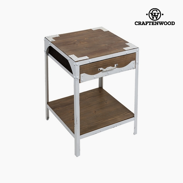 Table Fir wood Iron White (1 drawer) (45 x 45 x 56 cm) by Craftenwood