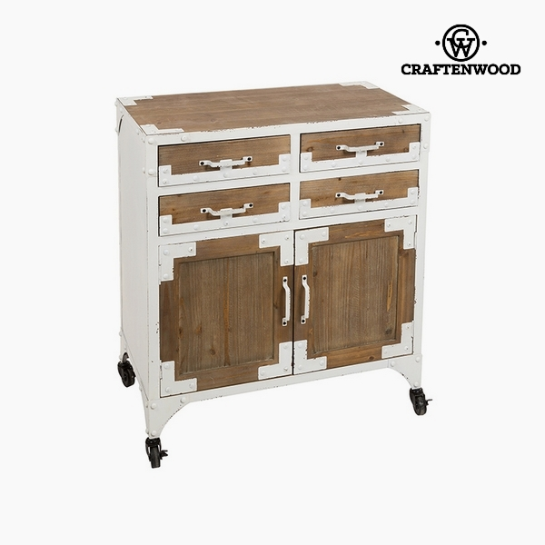 Console Fir wood White (4 drawers) (76 x 42 x 84 cm) by Craftenwood