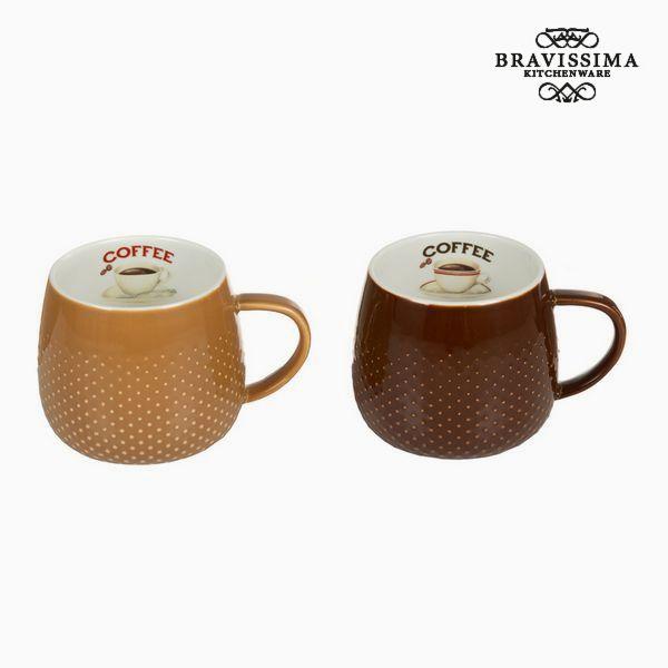 2 Piece Coffee Cup Set Brown Cream - Kitchen's Deco Collection by Bravissima Kitchen