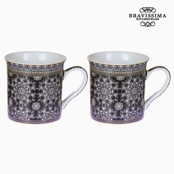 2 Piece Mug Set Mandala Black - Kitchen's Deco Collection by Bravissima Kitchen