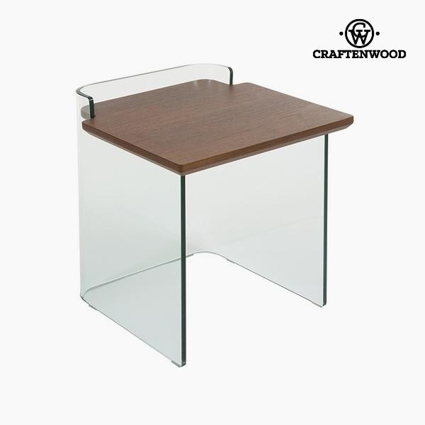 Side Table Curved glass Dm Walnut (50 x 50 x 50 cm) by Craftenwood