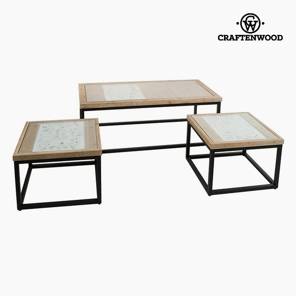 Set of 3 tables Fir wood (122 x 61 x 47 cm) by Craftenwood