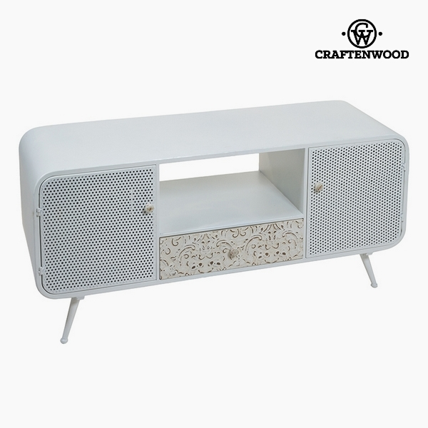 Television Table Fir wood White (3 drawers) (120 x 40 x 54 cm) by Craftenwood