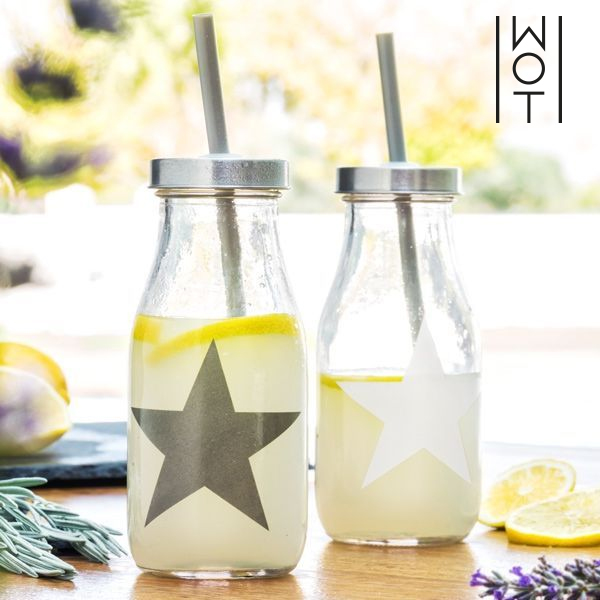 Glass Bottle with Star Straw