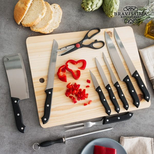 Set of Knives with Sharpener and Chopping Board (11 pieces)