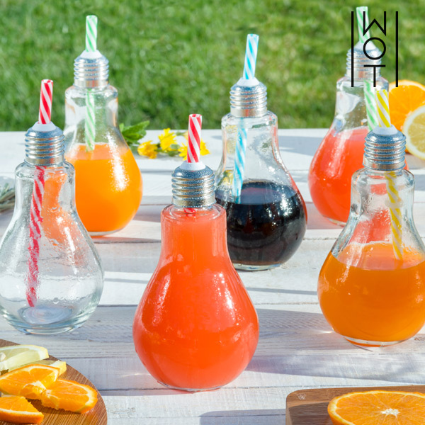 Wagon Trend 250 ml Transparent Light Bulb Drinking Glasses with Straws (pack of 6)