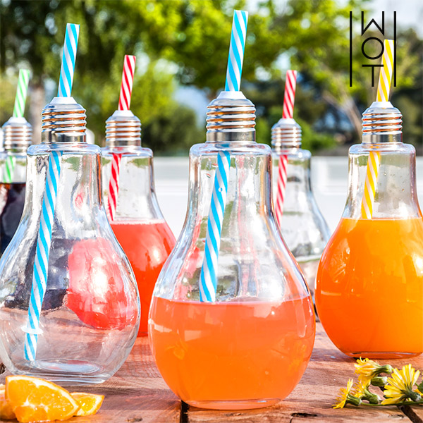 Wagon Trend 400 ml Transparent Light Bulb Drinking Glasses with Straws (pack of 6)