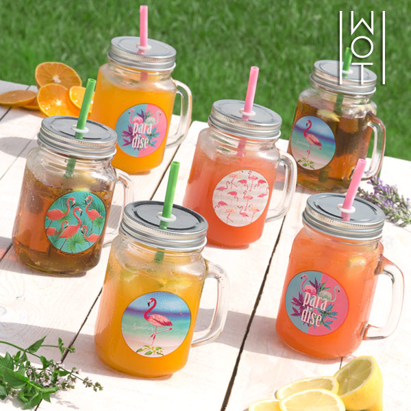Wagon Trend Flamingo Jars with Lids and Straws (pack of 6)