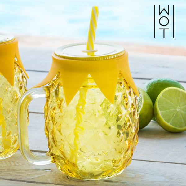 Wagon Trend Pineapple Jar with Straw & Lid