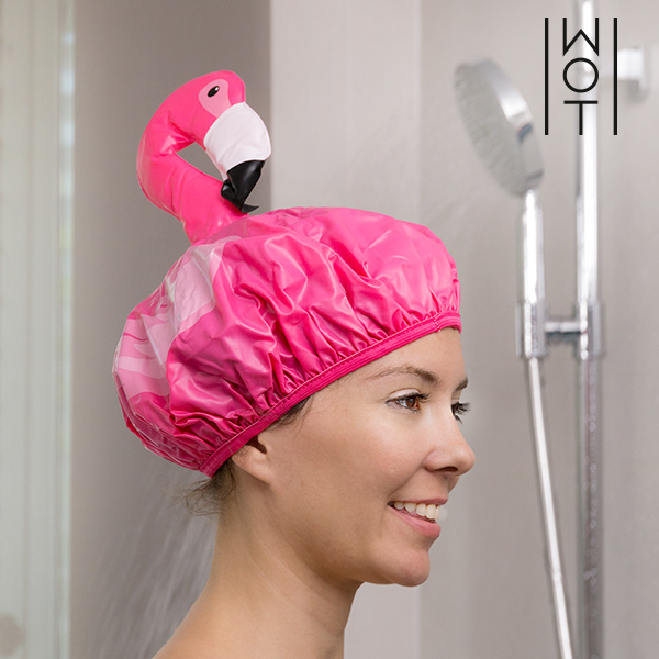 Wagon Trend Flamingo Shower Cap