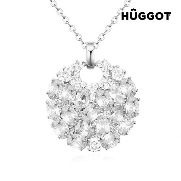 Hûggot Moon Rhodium-Plated Pendant with Zircons (45 cm)