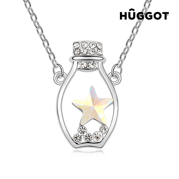 Hûggot Bottle Rhodium-Plated Pendant with Zircons Created with Swarovski®Crystals (45 cm)