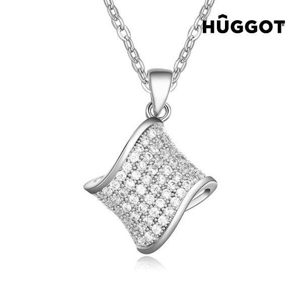 Hûggot Hamper Rhodium-Plated Pendant with Zircons (45 cm)