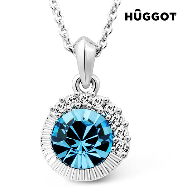 Hûggot Sandy Rhodium-Plated Pendant with Zircons Created with Swarovski®Crystals (45 cm)