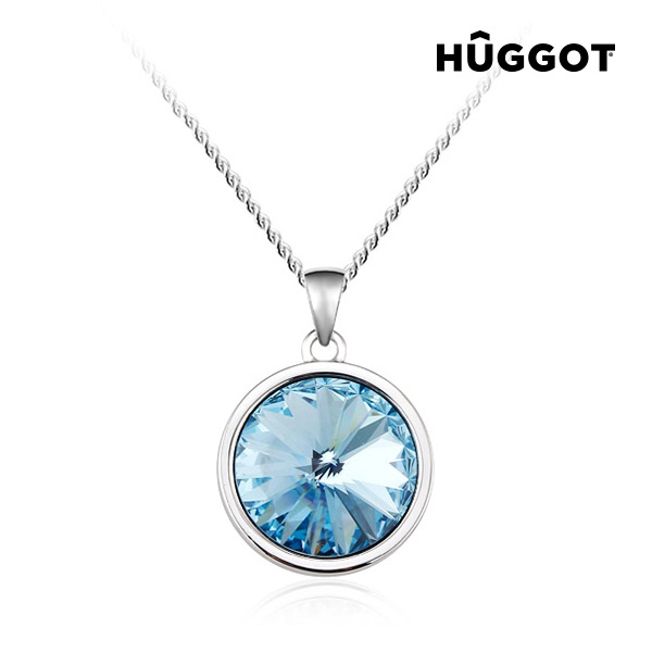 Hûggot Blue Diamond Rhodium-Plated Pendant with Zircons Created with Swarovski®Crystals (45 cm)