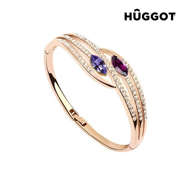Hûggot Paradise 18 Kt Pink Gold-Plated Bracelet with Zircons (Ø 5.5 cm)