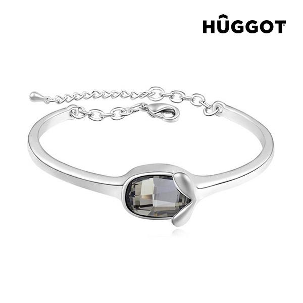 Hûggot Face Rhodium-Plated Bracelet Created with Swarovski®Crystals (Ø 6 cm)