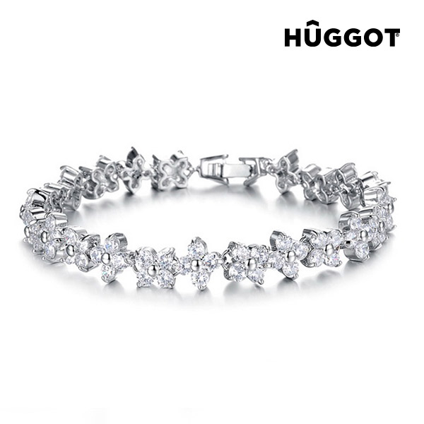 Hûggot Charm Rhodium-Plated Bracelet with Zircons (18 cm)