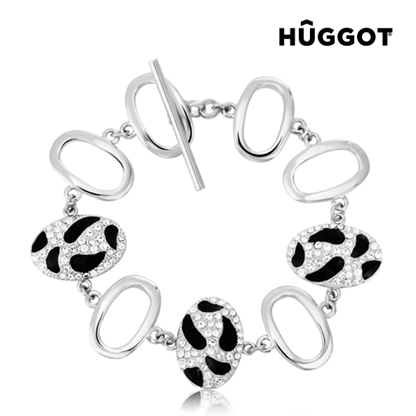 Hûggot Panther Rhodium-Plated Bracelet with Zircons (18 cm)