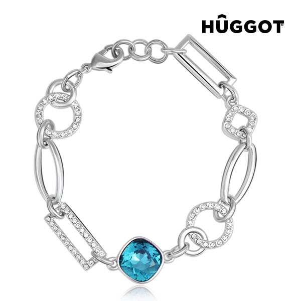 Hûggot Link Rhodium-Plated Bracelet with Zircons Created with Swarovski®Crystals (18 cm)