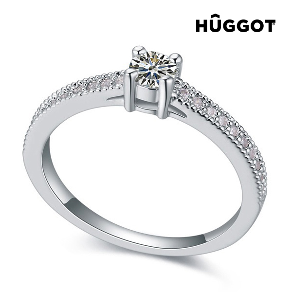 Hûggot Love Rhodium-Plated Ring with Zircons