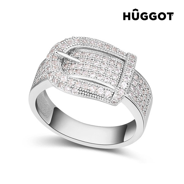 Hûggot Belt Rhodium-Plated Ring with Zircons