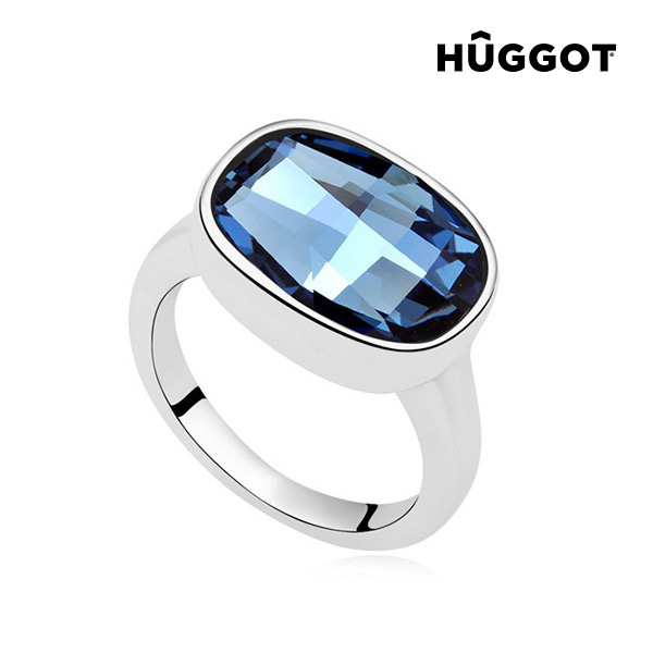 Hûggot I'm Blue Rhodium-Plated Ring Created with Swarovski®Crystals