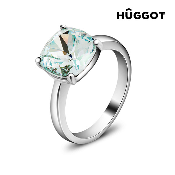 Hûggot Pacific Rhodium-Plated Ring Created with Swarovski®Crystals